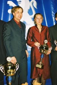 Piotr Adamus i Magda Zacharko trzykrotnie zdobywali szarfy Mistrzów Polski - za każdym razem w Pucharze Peugeot.